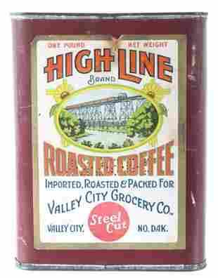 High Line Roasted Coffee Tin Can Circa 1920s