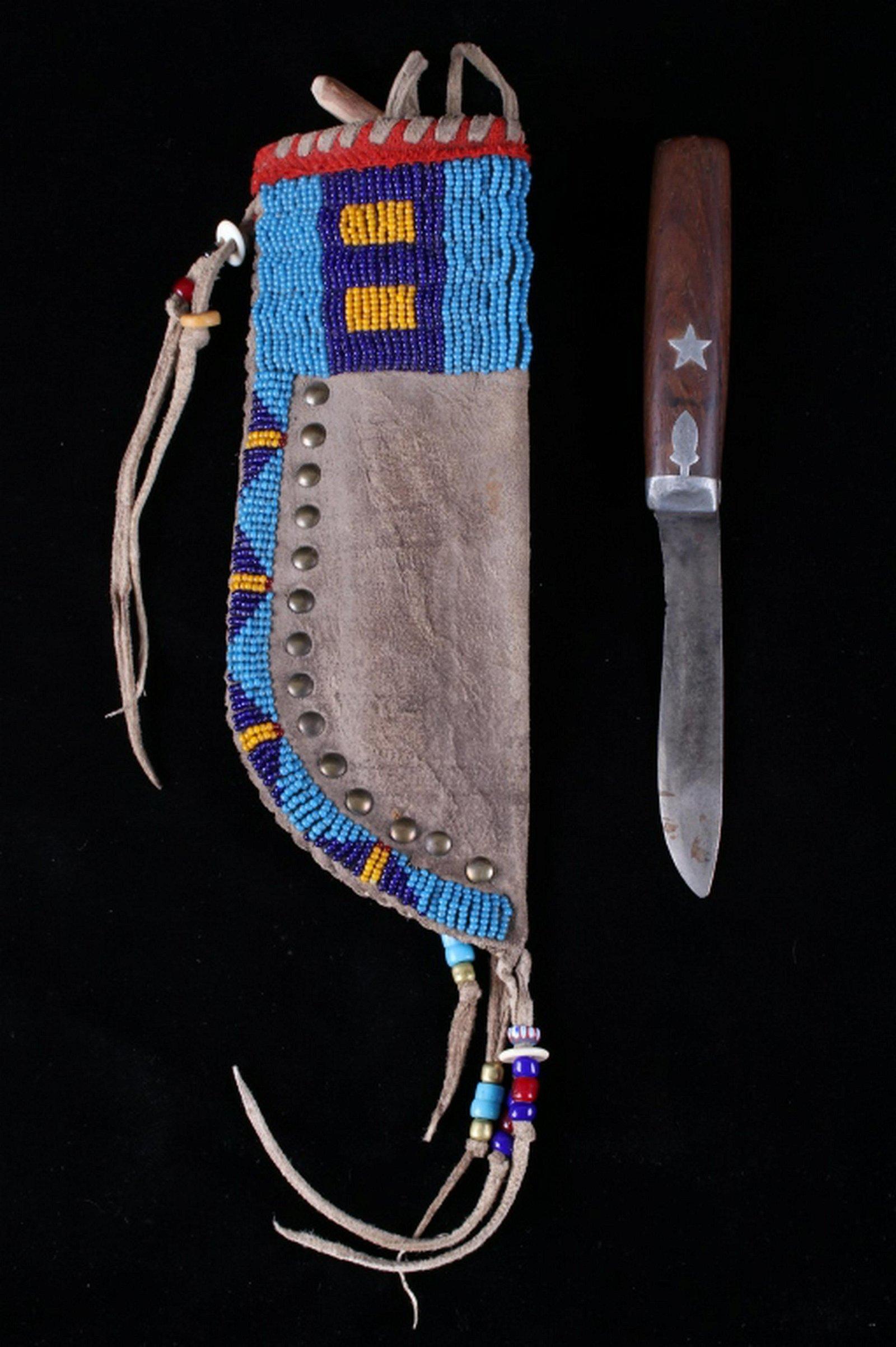 Plains Beaded Sheath & Pewter Inlaid 19th C. Knife