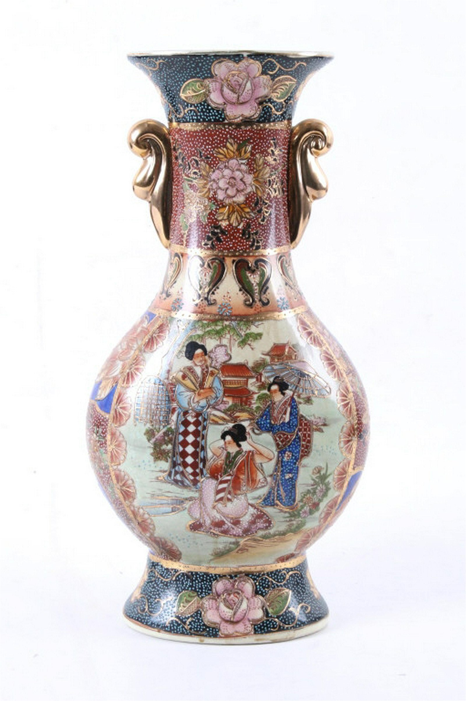 Large Japanese Porcelain Enamel Cloisonne Vase