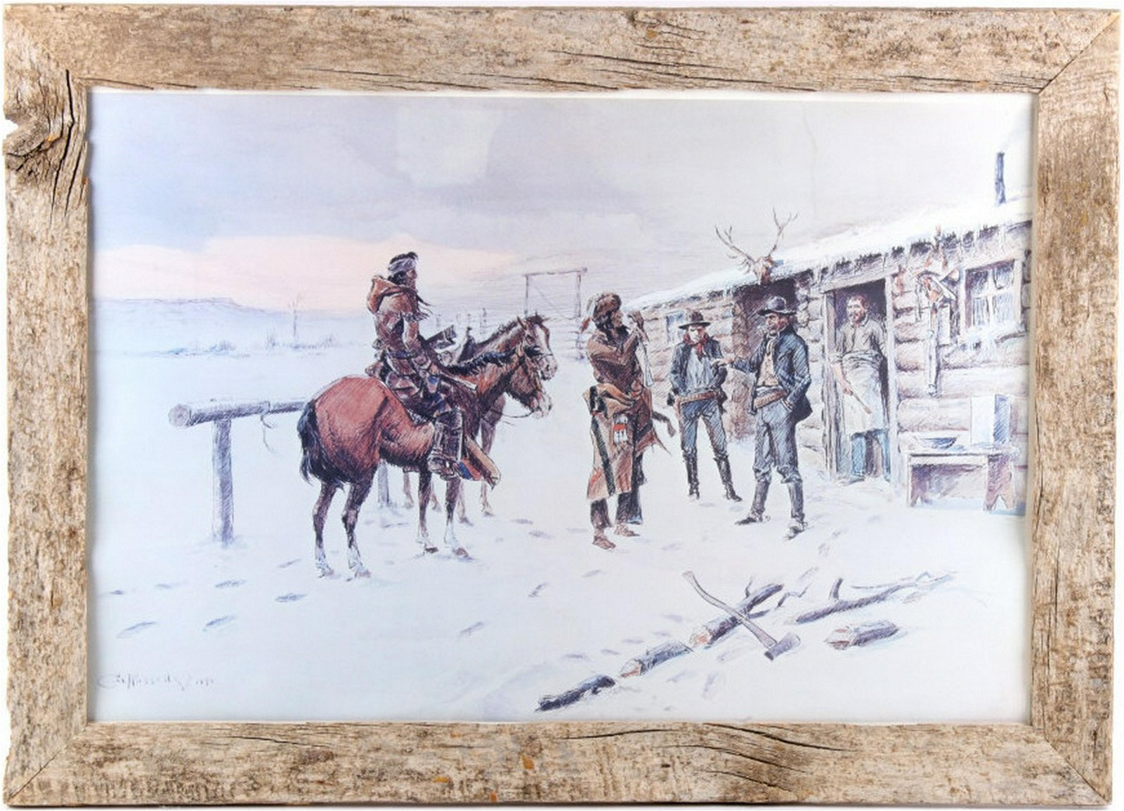 """""""Indian Trading Post"""" Charles Russell Framed Print"""