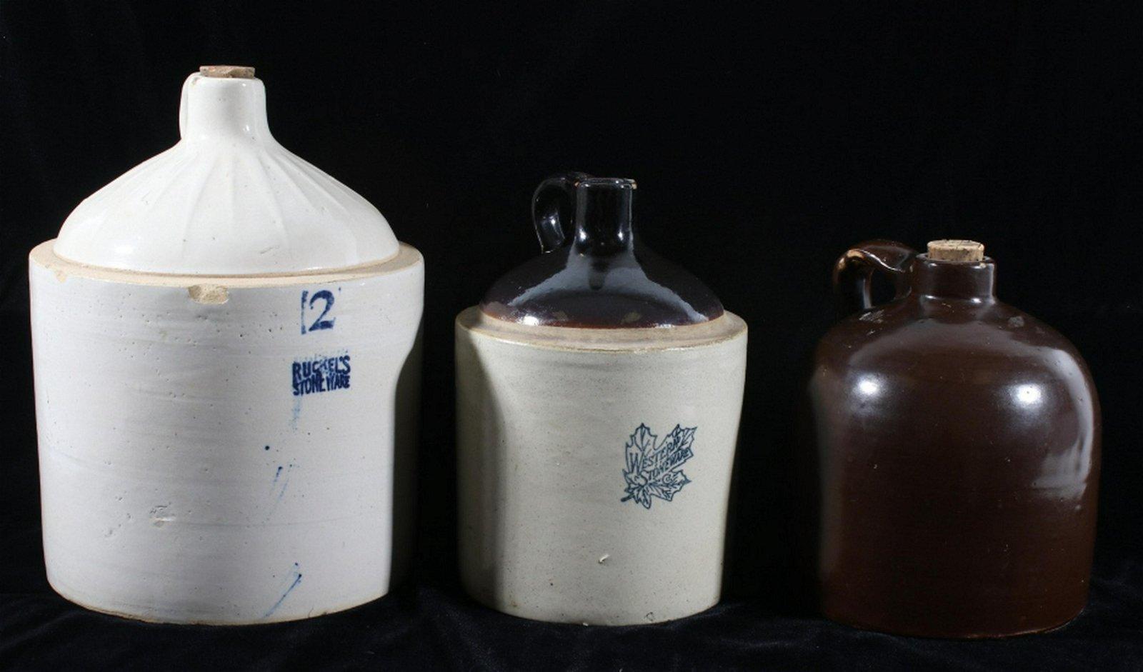 Early 20th Century Stoneware Pottery Whiskey Jugs