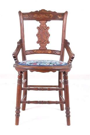 Early Oak Chippendale Carved Side Chair