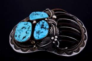 Navajo SS Badger Claw Turquoise Pendant