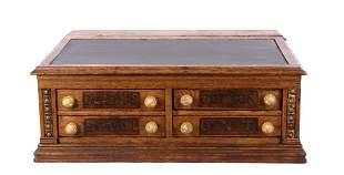 Early 1900s Clarks Oak Thread Counter Top Case