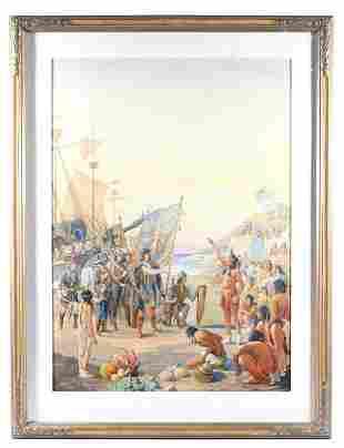 Signed Louis Leo Landing of Columbus Watercolor