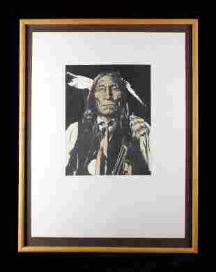 Early Wolf Robe Serigraph Portrait