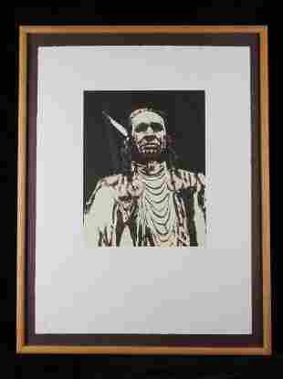 Early White Man Runs Him Serigraph Portrait