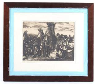 Red Mans West Framed Etching by Wolf Pogzeba