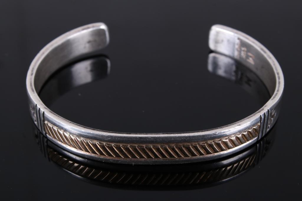 M. Yazzie Navajo 14k & Sterling Silver Bracelet