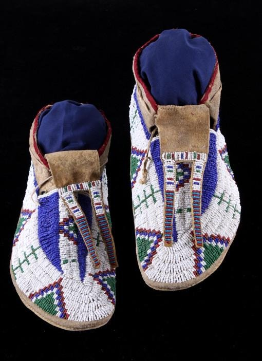 Lakota Sioux Beaded Moccasins 19th Century RARE
