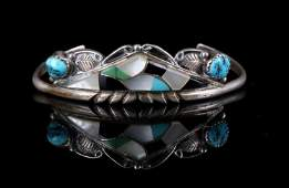 Signed Navajo Turquoise Inlaid Sterling Bracelet