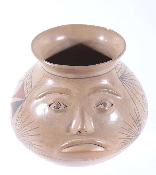 Signed Acoma Polychrome Effigy Pottery Jar w/ Face