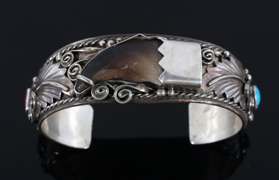 Navajo Bear Claw & Sterling Silver Bracelet