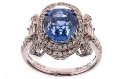 RARE Montana Sapphire & Diamond Platinum Ring