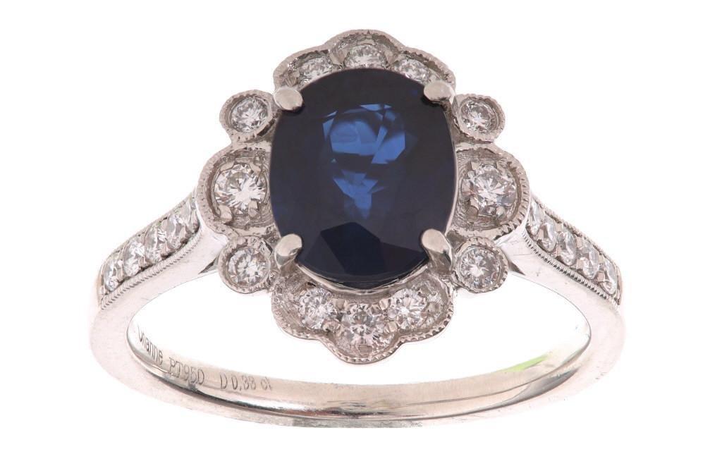 Vintage Dark Blue Sapphire & Diamond Platinum Ring