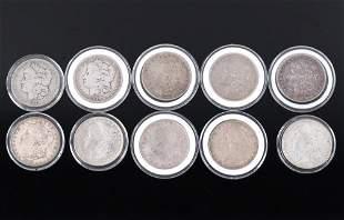 Collection of Ten Morgan Silver Dollar Coins