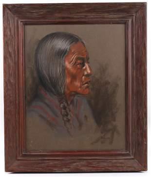 Signed Original Quenzler Pastel Indian Portrait