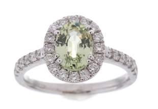 Vintage Montana Sapphire Diamond Platinum Ring