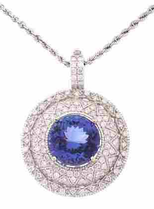 HUGE 1123 ct Tanzanite Diamond 14K Necklace