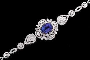 Art Deco Tanzanite Diamond 18K Gold Bracelet