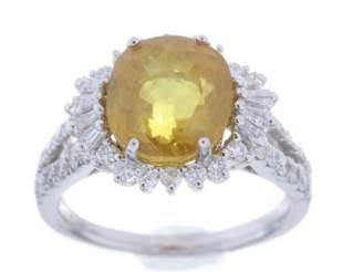 Vintage Yellow Sapphire Diamond Platinum Ring