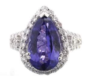 FLAWLESS Tanzanite Diamond Platinum Ring