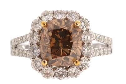 RARE Yellowish Brown Diamond 4.17 ct. 18K Ring