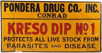 Early 1900 Original Pondera Drug Conrad MT Sign