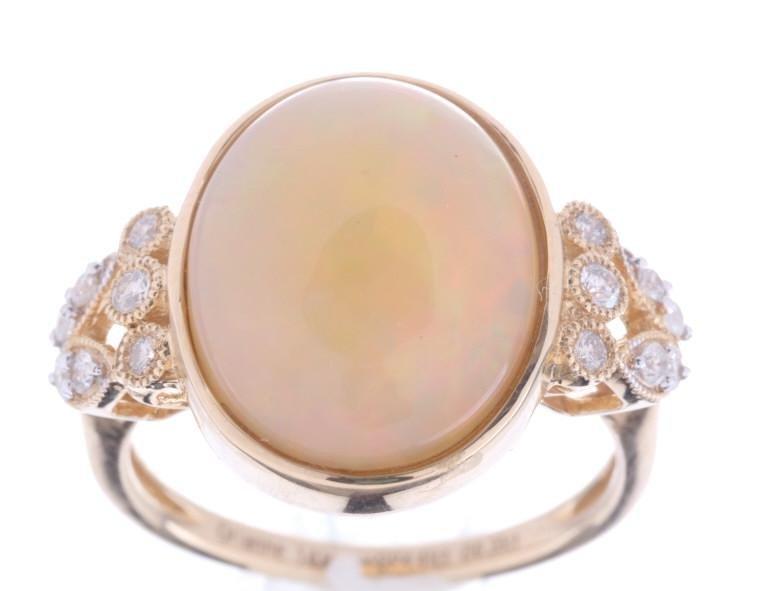 Rare Ethiopian Opal & Diamond 14K Gold Ring