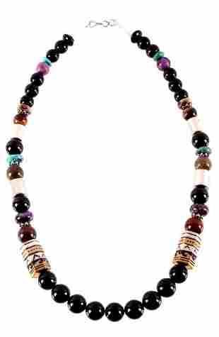 Navajo TR Singer Gold Sterling Stone Necklace