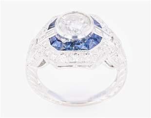 Art Deco Diamond & Blue Sapphire 18K Engraved Ring