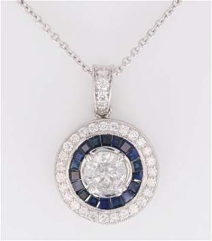 Art Deco Diamond & Blue Sapphire Platinum Necklace