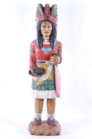Cigar Store Indian American Carved Wood