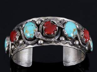 Navajo Sterling Royston Turquoise & Coral Bracelet