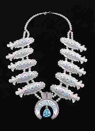 Navajo T Singer Chip Inlay Squash Blossom Necklace