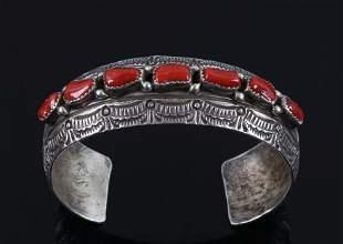 Navajo Sterling Silver & Branch Coral Bracelet