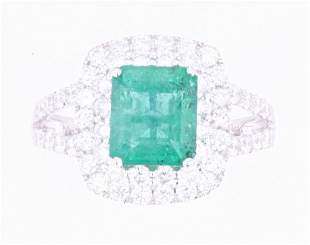 EXCELLENT Emerald & Diamond 18K Gold Ring
