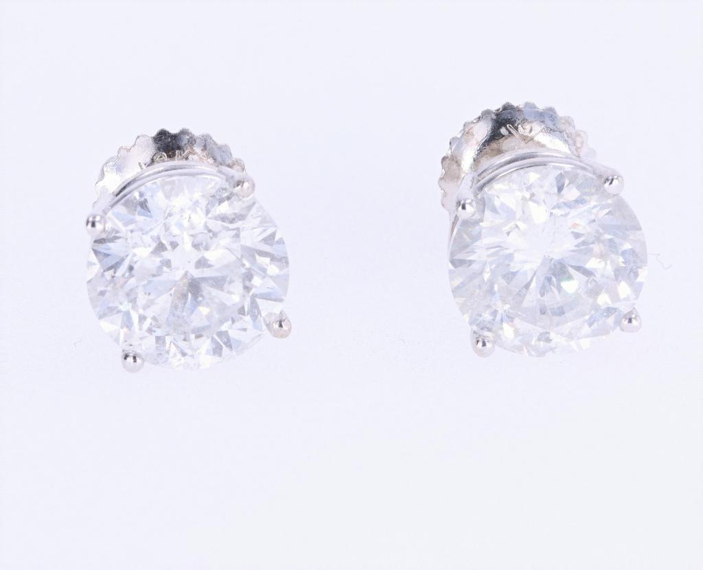 RARE 3.30 ct Diamond 18K Gold Stud Earrings