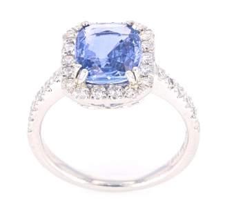 RARE Montana Sapphire & VS2 Diamond Platinum Ring