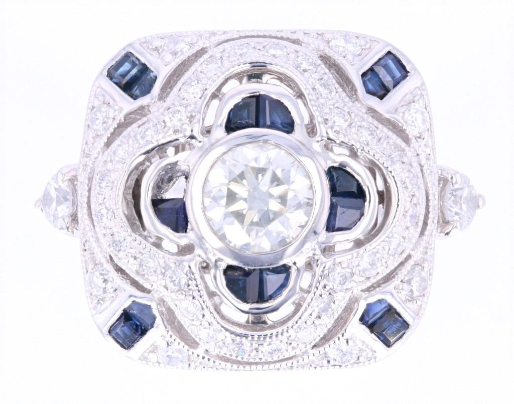 Art Deco Diamond & Sapphire Platinum Ring