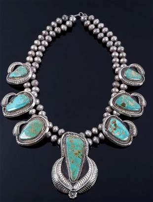 Navajo Royston Turquoise Squash Blossom 1900-1930s