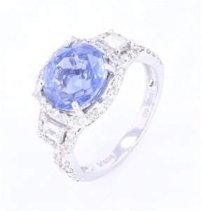 RARE Unheated 5.00 ct Sapphire & VS2 Diamond Ring