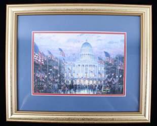 Signed Thomas Kinkade White House Framed Print