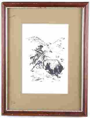 Buffalo Bill Hunting Buffalo Drawing By Bill Cody