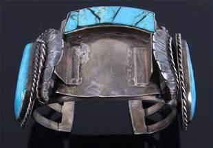 Signed Navajo Sterling Turquoise Bracelet