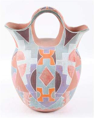 Native American Polychrome Pottery Jar