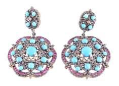 Art Nouveau Turquoise, Ruby & Diamond Earrings