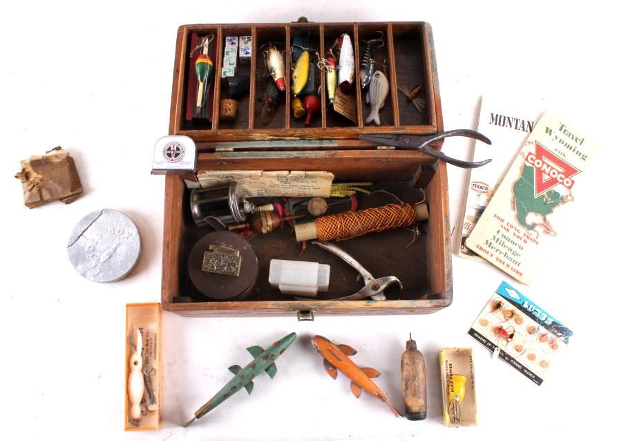 Antique Wooden Loaded Tackle Box