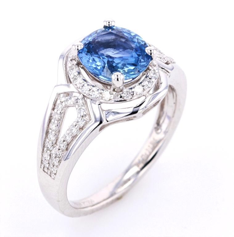 RARE Unheated 2.37 ct Sapphire & VS2 Diamond Ring