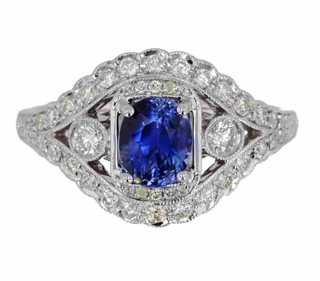 Vintage Dark Blue Sapphire & Diamond 14K Gold Ring